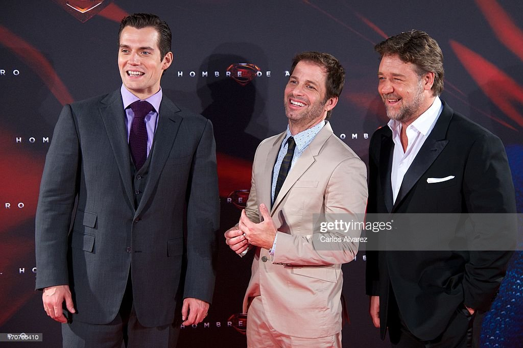 Actor Herny Cavill, director Zack Snyder, and Rusell Crowe attend the 'Man of Steel' (El Hombre de Acero) premiere at the Capitol cinema on June 17, 2013 in Madrid, Spain.