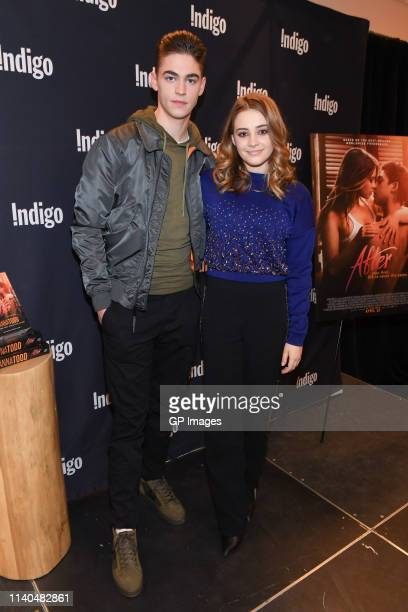 Actor Hero Fiennes Tiffin and actress Josephine Langford attend the After book signing at Indigo Yorkdale on April 04 2019 in Toronto Canada