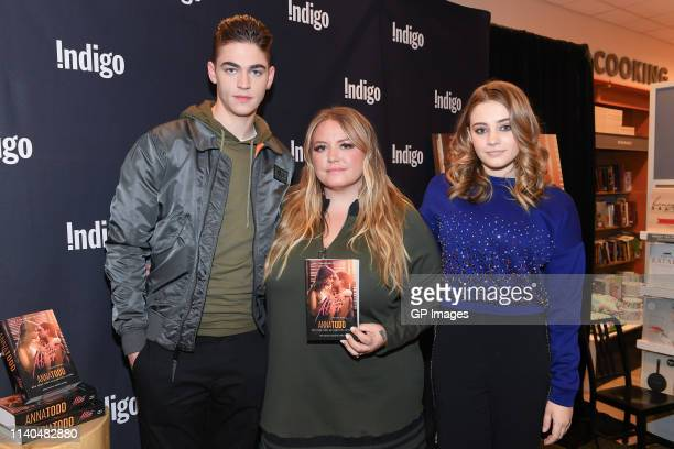 Actor Hero Fiennes Tiffin author Anna Todd and actress Josephine Langford attend the After book signing at Indigo Yorkdale on April 04 2019 in...