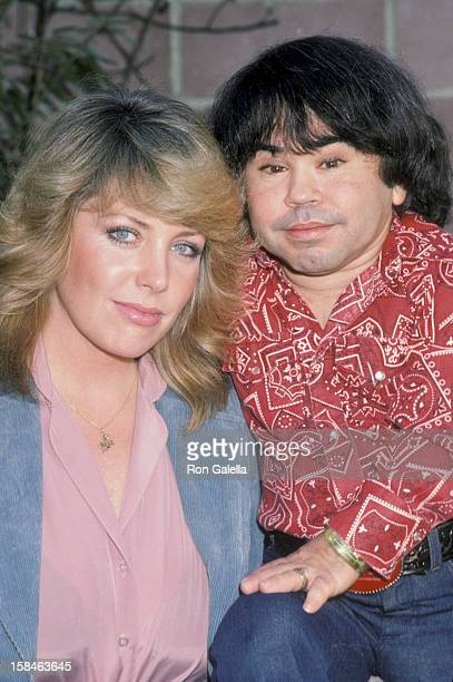 Actor Herve Villechaize and date Toby Bishop being photographed on January 6 1984 in Los Angeles California