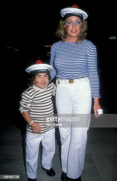Actor Herve Villechaize and Toby Bishop attending Sixth Annual Benefti Gala for Hathaway Home For Children on February 25 1984 at the Biltmore Hotel...