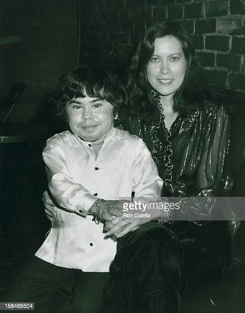 Actor Herve Villechaize and wife Camille Hagen attending Party for Jackie Mason on September 14 1981 at the Improvisation in Los Angeles California