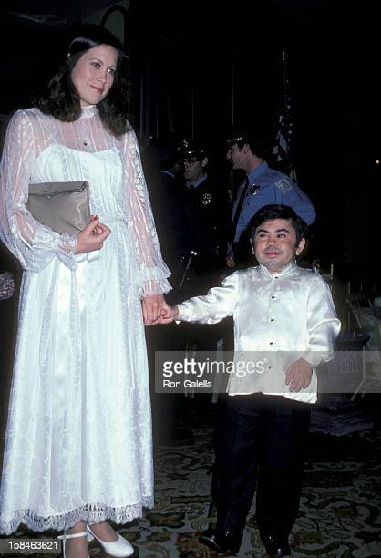 Actor Herve Villechaize and wife Camille Hagen attending Third Annual Media Awards Chaning Attitutudes on January 22 1981 at the Beverly Hilton Hotel...