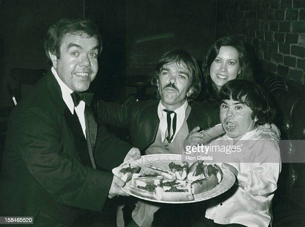 Actor Herve Villechaize wife Camille Hagen Jon Edward Allan and Lou Carey attending Party for Jackie Mason on September 14 1981 at the Improvisation...