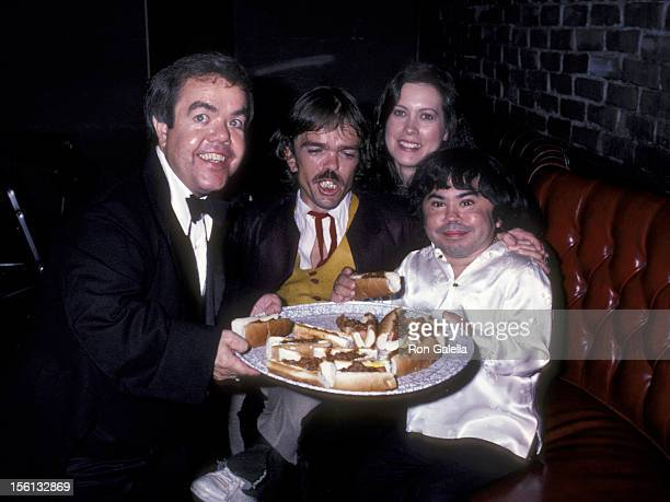 Actor Herve Villechaize wife Camille Hagen Lou Carey and Jon Edward Allan attending 'Party for Jackie Mason' on September 14 1981 at the...