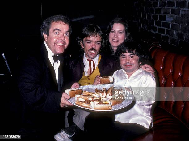 Actor Herve Villechaize wife Camille Hagen Lou Carey and Jon Edward Allan attending Party for Jackie Mason on September 14 1981 at the Improvisation...