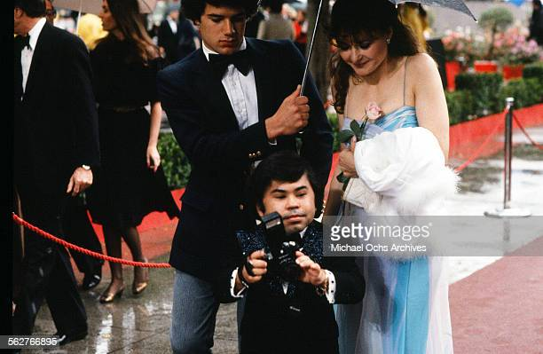 Actor Herve Villechaize with actress Kathy Self arrive to the 54th Academy Awards at Dorothy Chandler Pavilion in Los AngelesCalifornia