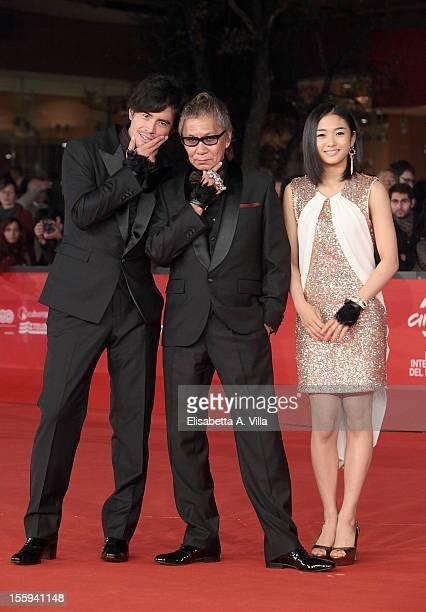 Actor Hideaki Ito director Takashi Miike and actress Erina Mizuno attend the 'Aku no Kyoten' Premiere during the 7th Rome Film Festival at Auditorium...