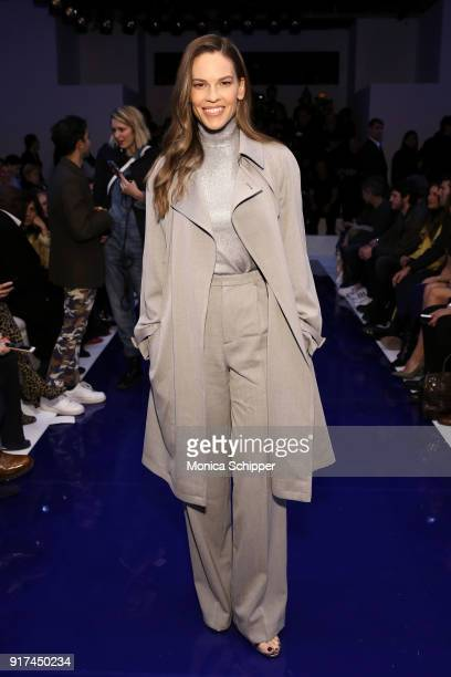 Actor Hilary Swank attends the Ralph Lauren fashion show during New York Fashion Week The Shows on February 12 2018 in New York City