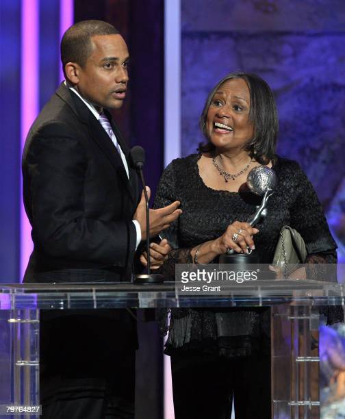 Actor Hill Harper accepts the Outstanding Actor in a Drama Series award for CSI NY onstage during the 39th NAACP Image Awards held at the Shrine...