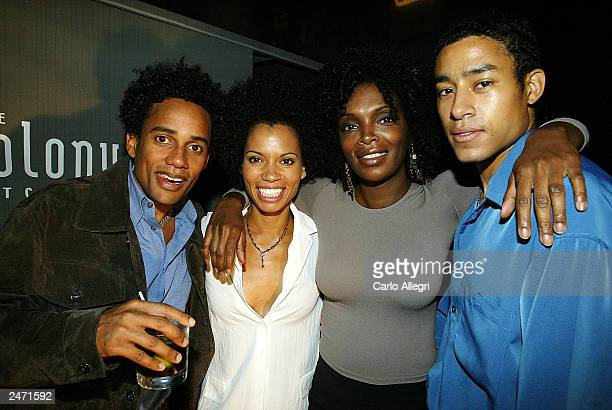 Actor Hill Harper Actress Kai Soremekun Marlyne Afflack and Mark Taylor attend the 'Love Sex and Eating the Bones' after party during the 2003...