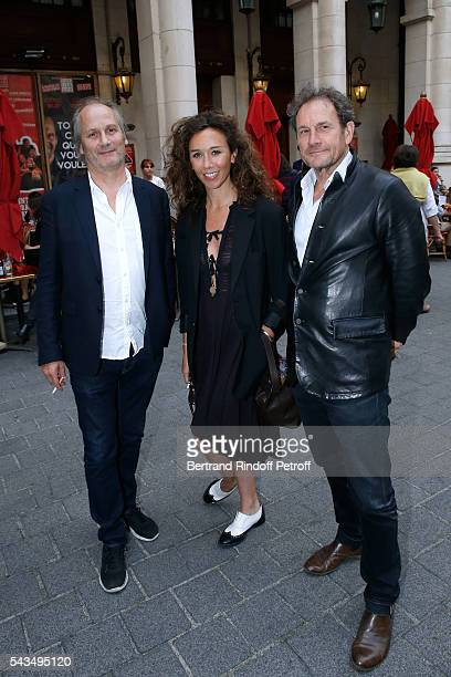 Actor Hippolyte Girardot actress Charlotte des Georges and Director of Theatre Hebertot Francis Lombrail attend 'Du vent dans les branches de...