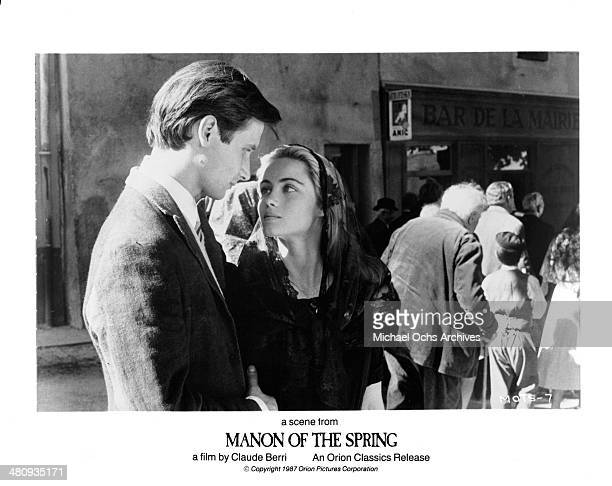 Actor Hippolyte Girardot and actress Emmanuelle Beart in a scene from the movie ' Manon of the Spring' circa 1986