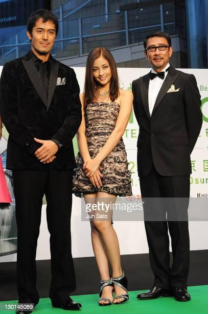 Actor Hiroshi Abe actress Meisa Kuroki and actor Kiichi Nakai attend the 24th Tokyo International Film Festival Opening Ceremony at Roppongi Hills on...