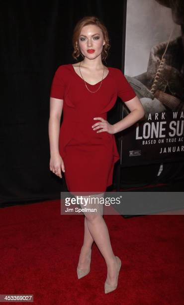 Actor Holliday Grainger attends the Lone Survivor New York premiere at Ziegfeld Theater on December 3 2013 in New York City