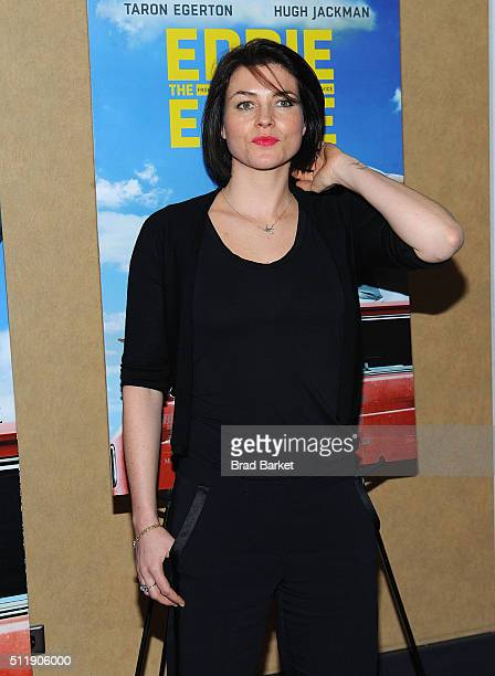 Actor Holly Davidson vattend the 'Eddie The Eagle' New York Screening at Chelsea Bow Tie Cinemas on February 23 2016 in New York City