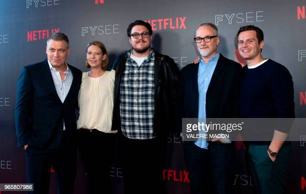US actor Holt McCallany Australian actress Anna Torv US actor Cameron Britton US Executive Producer and Director David Fincher and US actor Jonathan...