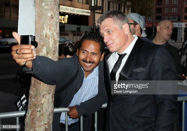 Actor Holt McCallany poses for a selfie at a screening of Saban Films and DIRECTV's 'Shot Caller' at The Theatre at Ace Hotel on August 15 2017 in...