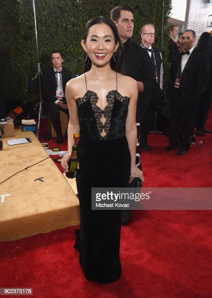Actor Hong Chau celebrates The 75th Annual Golden Globe Awards with Moet Chandon at The Beverly Hilton Hotel on January 7 2018 in Beverly Hills...