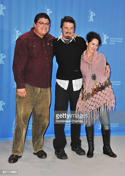 """Actor Horacio Camandulle, director Adrian Biniez and actress Leonor Svarcas attend the """"Gigante"""" photocall during the 59th Berlin International Film..."""