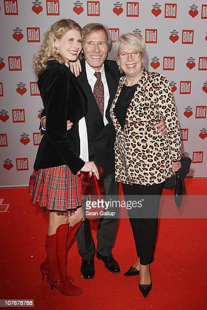 Actor Horst Janson his wife Hella and his daughter Laura attend the 'Ein Herz Fuer Kinder' charity gala at Axel Springer Haus on December 18 2010 in...