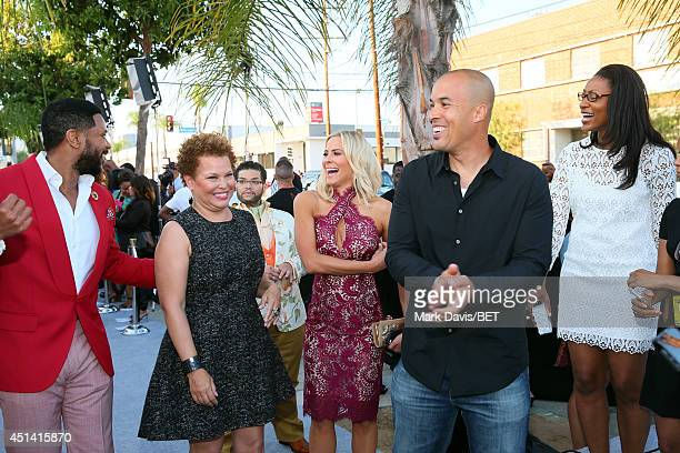 Actor Hosea Chanchez BET Chairman CEO Debra L Lee actors Brittany Daniel and Coby Bell attend the BET AWARDS '14 Debra Lee's PreDinner held at Milk...