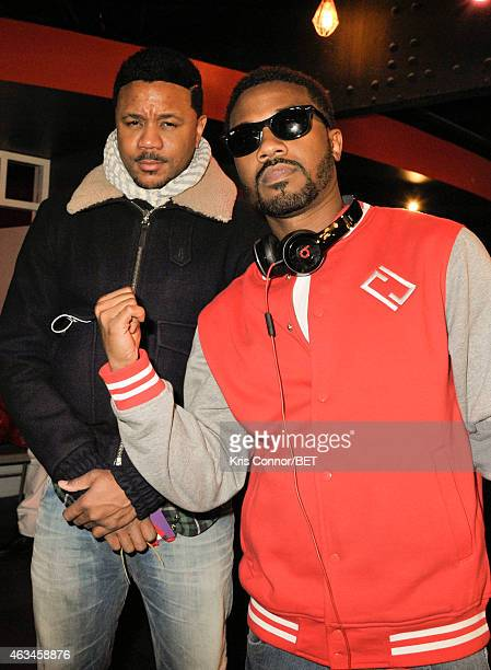 Actor Hosea Chanez and Ray J attend the BET Networks Celebrity Bowling Event at Bowlmor Pier 60 on February 14 2015 in New York City