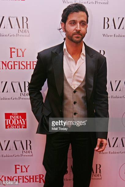 Actor Hrithik Roshan at the launch of Harper's Bazaar's first anniversary issue in New Delhi on February 23 2010