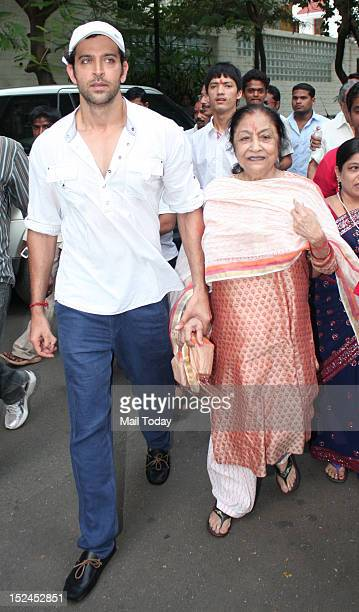 Actor Hrithik Roshan during Ganesh Visarjan in Mumbai on 20th September 2012