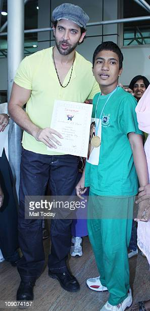 Actor Hrithik Roshan with special children from the Samarpan School at an event organised by ecole Mondiale School in Juhu