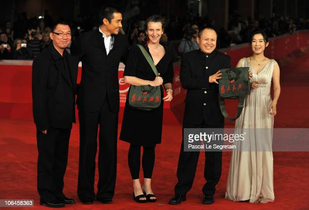 Actor Hu Bing and director Liu Bingjian attend The Back premiere during The 5th International Rome Film Festival at Auditorium Parco Della Musica on...