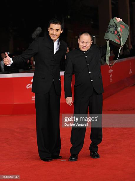 Actor Hu Bing and director Liu Bingjian attends The Back premiere during The 5th International Rome Film Festival at Auditorium Parco Della Musica on...
