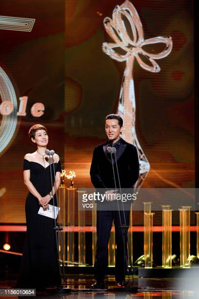 Actor Hu Ge and actress Ma Yili attend the closing ceremony of the 25th Shanghai TV Festival on June 14, 2019 in Shanghai, China.
