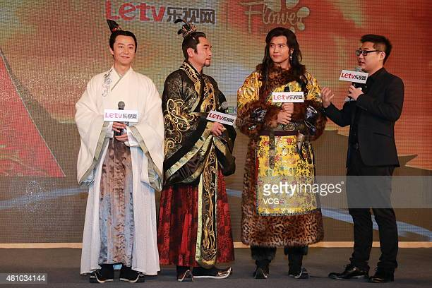 Actor Huang Xuan actor Alex Fong Chung Sun and actor Gao Yunxiang attend director Zheng Xiaolong's new film 'The Legend of Miyue' press conference at...