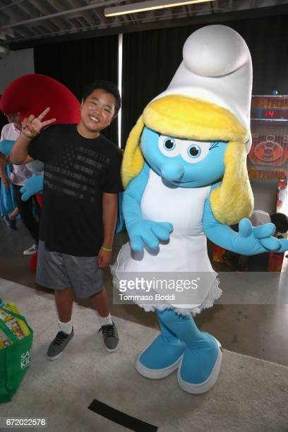 Actor Hudson Yang and Smurf attend Safe Kids Day 2017 at Smashbox Studios on April 23 2017 in Culver City California