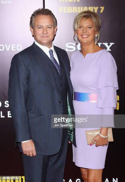 Actor Hugh Bonneville and wife Lulu Williams attend the 'Monument Men' premiere at Ziegfeld Theater on February 4 2014 in New York City