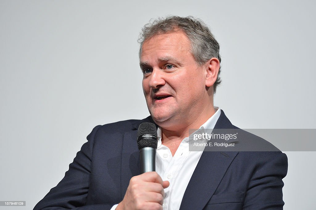 Actor Hugh Bonneville speaks onstage during the Q&A session as part of The Hollywood Reporter screening of PBS Masterpiece's 'Downton Abbey' Season 3 on December 7, 2012 in West Hollywood, California.