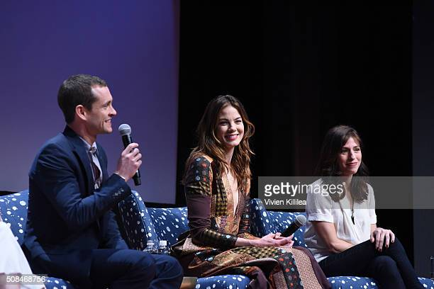 Actor Hugh Dancy actress Michelle Monaghan and actress Amy Forsyth speak at the 'The Path' event during aTVfest 2016 presented by SCAD on February 4...
