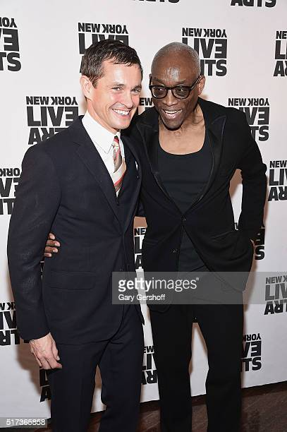 Actor Hugh Dancy and dancer/choreographer Bill T Jones attend the 2016 New York Live Arts Gala at the Museum of Jewish Heritage on March 24 2016 in...