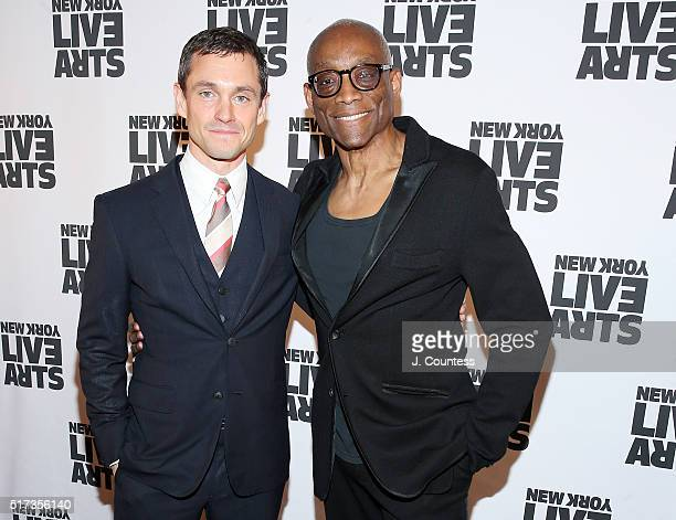 Actor Hugh Dancy and dancer/choreographer Bill T Jones attend the New York Live Arts 2016 Gala at Museum of Jewish Heritage on March 24 2016 in New...