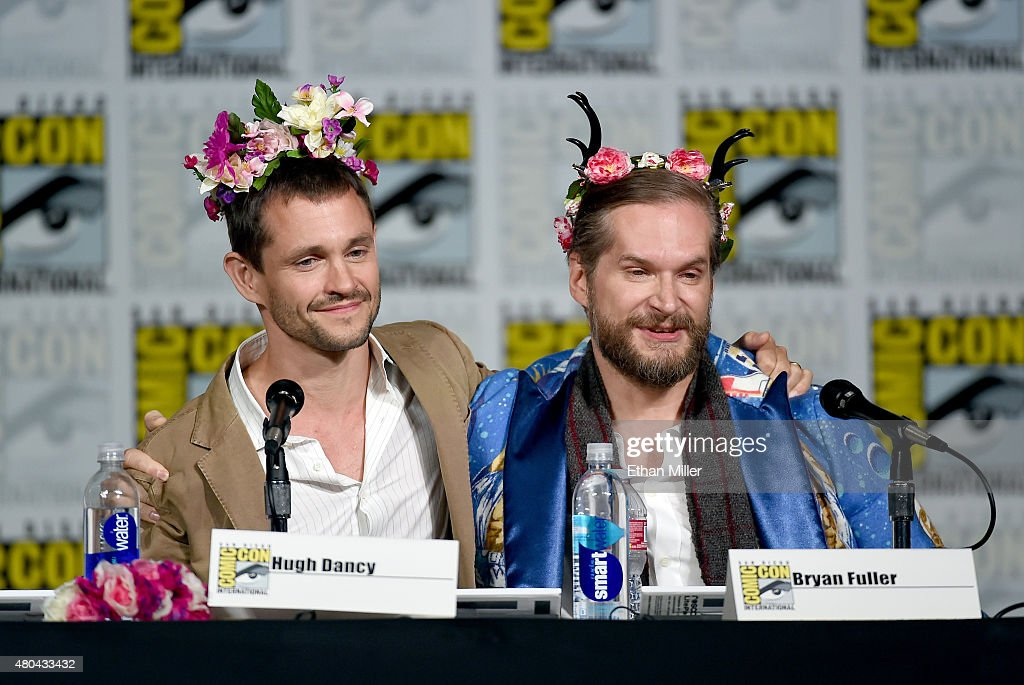 Actor Hugh Dancy (L) and executive producer/creator Bryan Fuller speak onstage at the 'Hannibal' Savor the Hunt panel during Comic-Con International 2015 at the San Diego Convention Center on July 11, 2015 in San Diego, California.