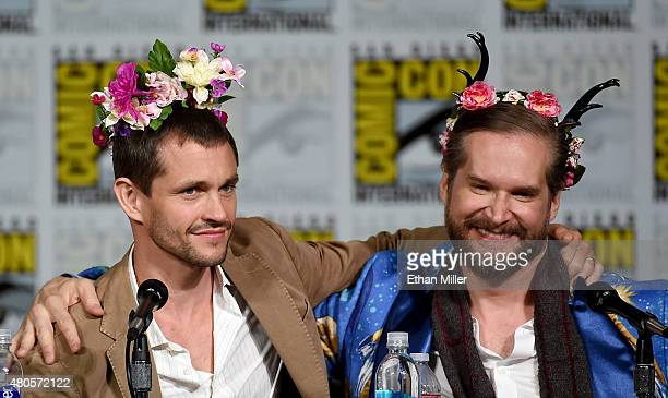 Actor Hugh Dancy and executive producer/creator Bryan Fuller wear flower crowns at the 'Hannibal' Savor the Hunt panel during ComicCon International...