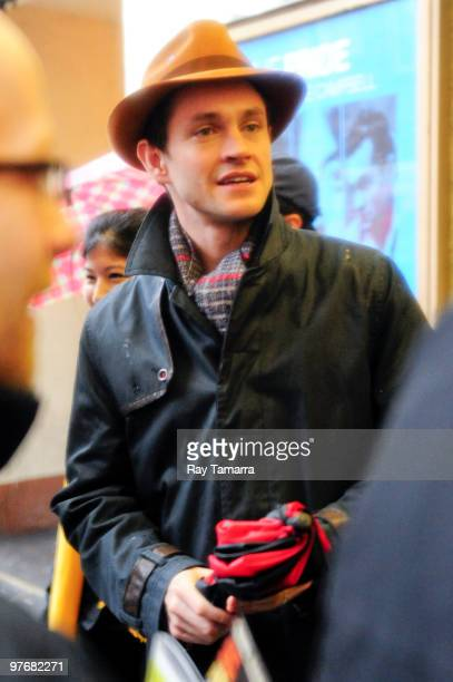 Actor Hugh Dancy leaves the Lucille Lortel Theatre after performing in ''The Pride'' on March 13 2010 in New York City
