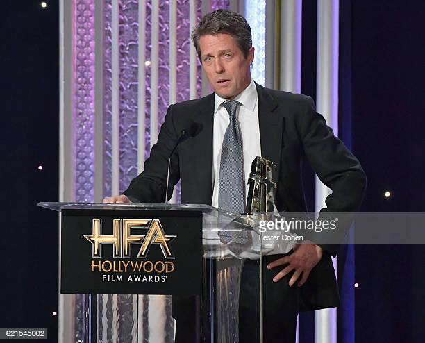 Actor Hugh Grant accepts the Hollywood Supporting Actor Award for Florence Foster Jenkins onstage during the 20th Annual Hollywood Film Awards at The...