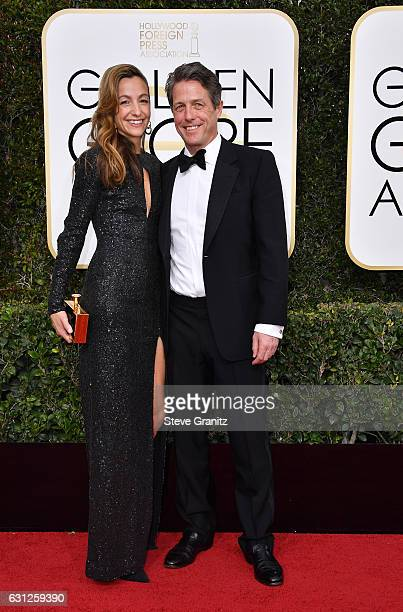 Actor Hugh Grant and Anna Eberstein attend the 74th Annual Golden Globe Awards at The Beverly Hilton Hotel on January 8 2017 in Beverly Hills...