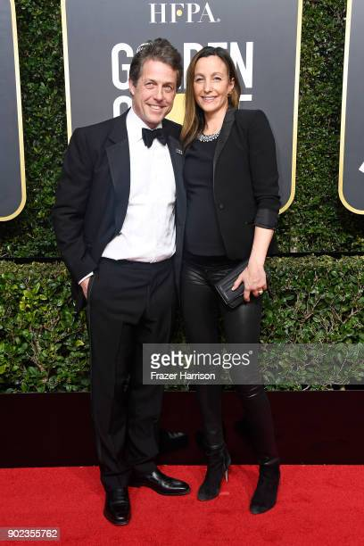 Actor Hugh Grant and Anna Eberstein attend The 75th Annual Golden Globe Awards at The Beverly Hilton Hotel on January 7 2018 in Beverly Hills...