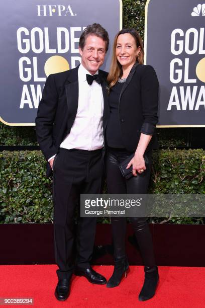Actor Hugh Grant and Anna Eberstein attends The 75th Annual Golden Globe Awards at The Beverly Hilton Hotel on January 7 2018 in Beverly Hills...