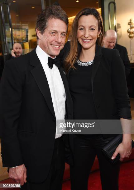Actor Hugh Grant and Anna Eberstein celebrate The 75th Annual Golden Globe Awards with Moet Chandon at The Beverly Hilton Hotel on January 7 2018 in...