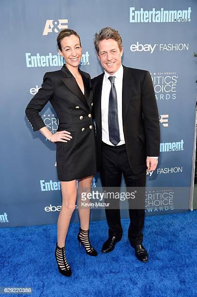 Actor Hugh Grant and Anna Elisabet Eberstein attend The 22nd Annual Critics' Choice Awards at Barker Hangar on December 11 2016 in Santa Monica...