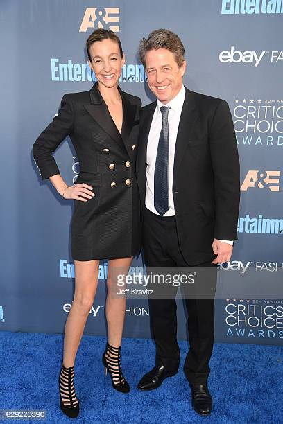 Actor Hugh Grant and Anna Elisabet Eberstein attend The 22nd Annual Critics' Choice Awards at Barker Hangar on December 11 2016 in Santa Monica...